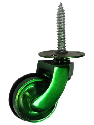 Green Screw Castor with Rubber Tyre - 32mm